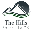 Image of rolling hills with the words Kerrville Texas
